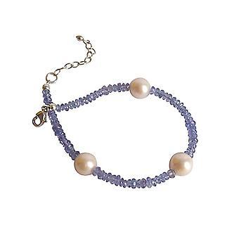 Tanzanita roxa de pedras preciosas pulseira azul e pulseira de pérola