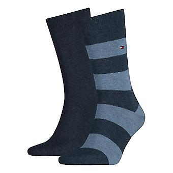 Tommy Hilfiger Rugby rayé chaussettes 2-Pack - Jeans
