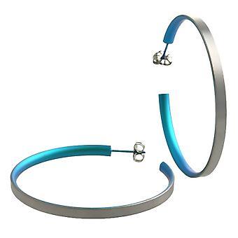 Ti2 Titanium store Hoop Øreringe - Kingfisher Blue