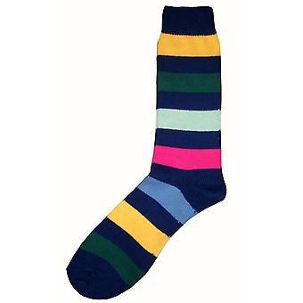 Bassin and Brown Multi Stripe Socks - Navy