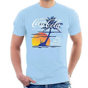 Coca Cola zonsondergang witte tekst mannen T-Shirt