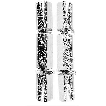 """12"""" Silber & weiß Holly Design Cracker - 25"""