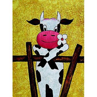 30x40cm, eine romantische Kuh, Ölgemälde auf Leinwand