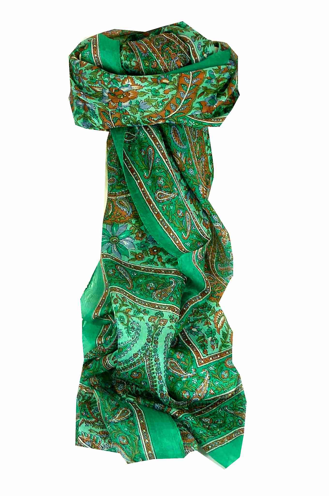 Mulberry Silk Traditional Long Scarf Purna Green by Pashmina & Silk