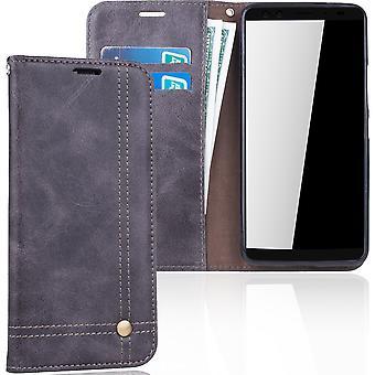 Cell phone cover case voor HTC U12 cover Wallet case grijs