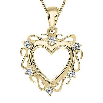 LXR 14K Yellow Gold Diamond Heart Pendant