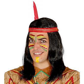 Mens parrucca indiana con piume costume accessorio