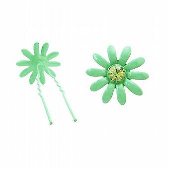 Tyttöjen syntymäpäivä lahja vihreät hiukset Pin w / Emerald kiteet metalli nutturapuikkoon
