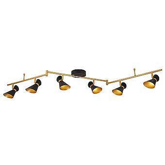 Diablo Matt Black i sześć złota światło LED Spotlight na pasek podziału - reflektor 5926BG