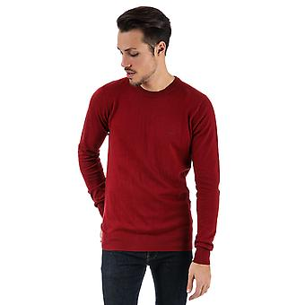 Mens Bench Cotton Fine Gauge Crew Knit In Red- Ribbed Cuffs, Collar And Hem-