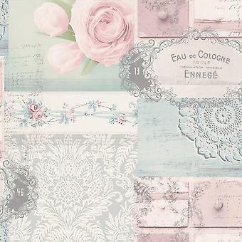 Decoupage Patchwork Floral Wallpaper Flowers Yellow Blue Pink Silver Metallic