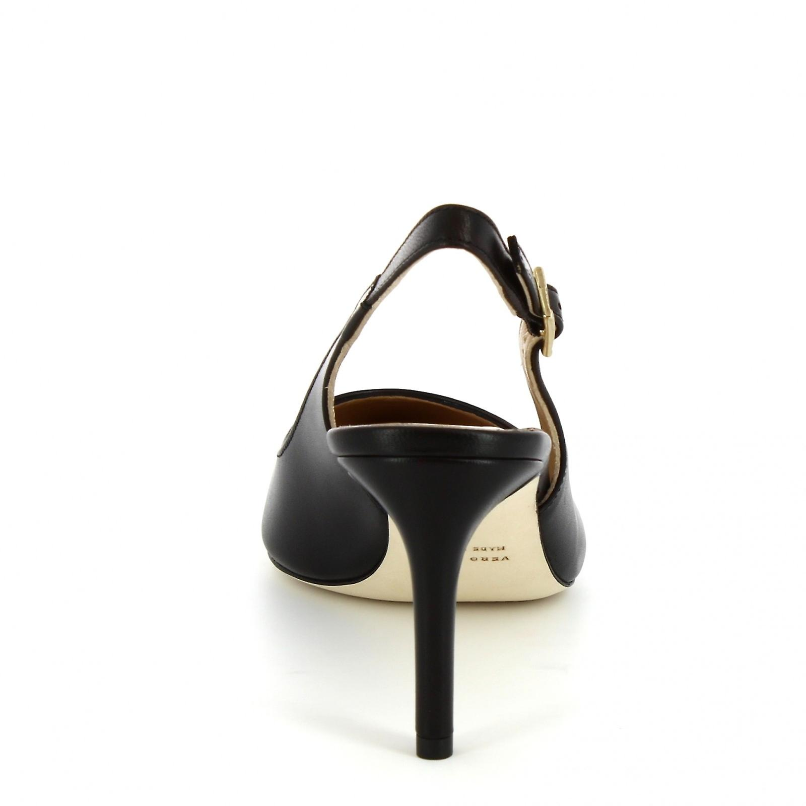 Leonardo Shoes Women's handmade heel slingback sandals in black calf leather