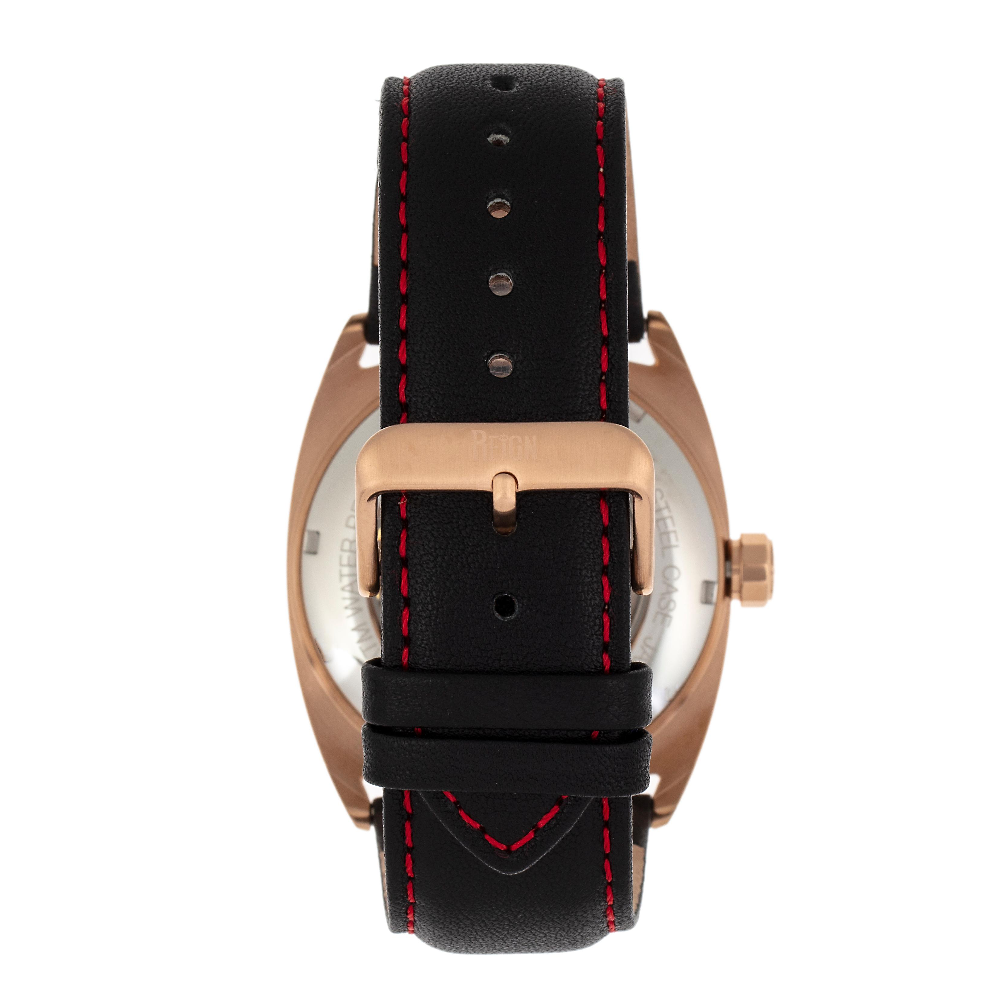 Reign Astro Semi-Skeleton Leather-Band Watch - Rose Gold/Black