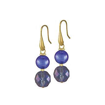 Eeuwige collectie Arezzo Sapphire Blue en Gold Venetiaans Murano-glas Drop doorboord oorbellen
