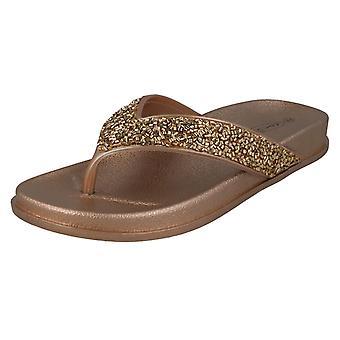 Ladies Spot On Glittery Toepost Flip Flops F00246