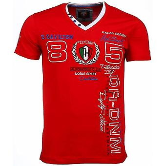 E T-shirt - Short Sleeves - Embroidery Automobile Club - Red
