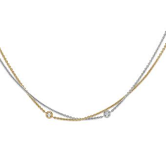 Jewelco London 18ct 2-Colour Gold Diamond By The Inch Donut Necklace 0.15ct
