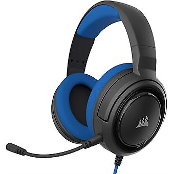 Corsair HS35 Stereo Gaming Headset, Custom 50 mm Neodymium Speakers, Detachable Unidirectional Microphone, Lightweight - Blue