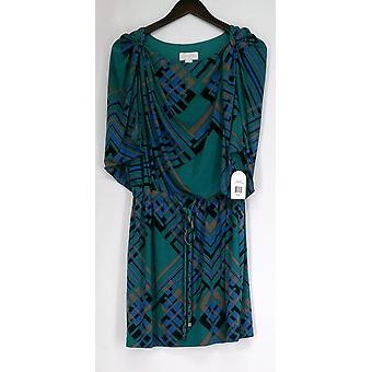Jessica Simpson Convertible Sleeveless Green Geometric Print Dress