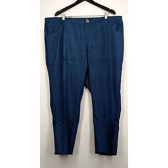 IMAN Petite Pants Skinny Leg Buttoned Pocketed Blue Womens #7