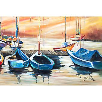Carolines Treasures  JMK1038PLMT Beach View with Sailboats Fabric Placemat