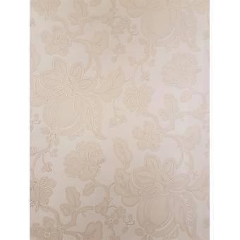 Crème beige bloemen behang glitter gouden bloemen Italiaanse vinyl glanzend reliëf