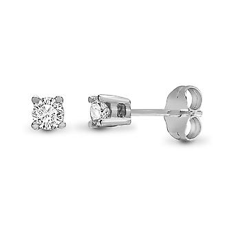Jewelco London Ladies Solid 9ct White Gold 4 Claw Set Round H I1 0.2ct Diamond Solitaire Stud Boucles d'oreilles