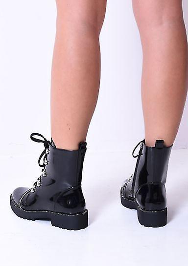 Lace Up Zip Détail Patent Combat Bottine Bot Boots Noir