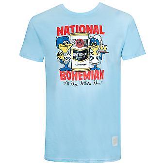 National Bohemian Vintage Design Blue Tee Shirt