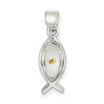 925 Sterling Silver Solid Polished Enameled With MuStard Seed Ithicus Fish Pendant Jewelry Gifts for Women