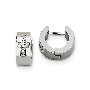 Rostfritt stål borstat CZ Cubic Zirconia Simulerad Diamond religiös tro Cross polerad rund gångjärn hoop örhängen Je
