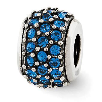 925 Sterling Silber Finish Reflexionen blau Swarovksi Element Perle Anhänger Anhänger Halskette Schmuck Geschenke für Frauen