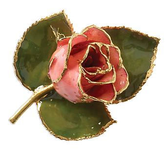 24k Gift Boxed Lacquered finish Gold Trim Pink Rose Brooch Pin Jewelry Gifts for Women