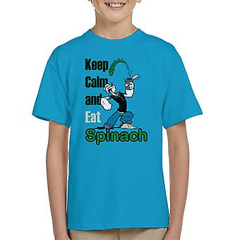 Popeye Keep Calm And Eat Spinach Kid's T-Shirt