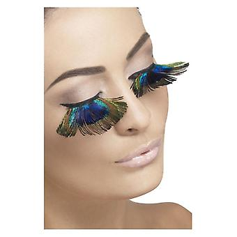 Pestañas, plumas de pavo real, púrpura, contiene pegamento disfraces accesorios