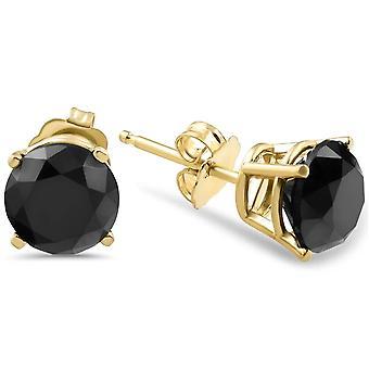 1 1/2ct Black Diamond Stud Øreringe Gul Guld