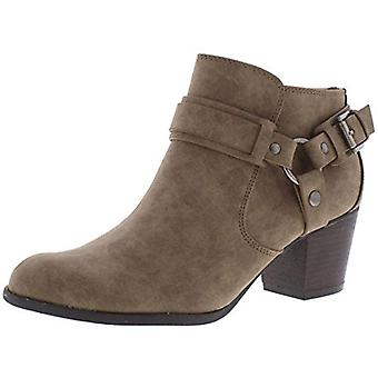 Indigo Rd. Womens Sansun Faux Leather Stacked Booties Taupe 5.5 Medium (B,M)