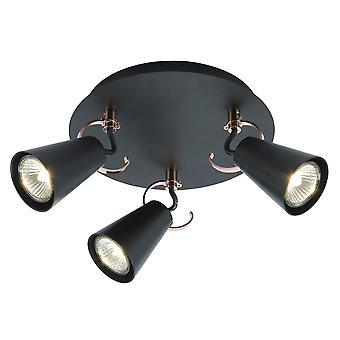 BRILLIANT lamp SASO Spotrondell 3flg black/copper For LED lamps suitable I Dimmable when using suitable lamps