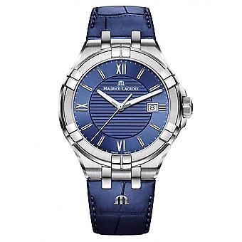 Maurice Lacroix AI1008-SS001-430-1 Men's Aikon Blue Leather Wristwatch
