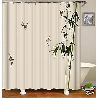 Bamboo And Four Birds Shower Curtain