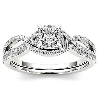 Igi certifierad 14k vitt guld 0,37 ct rund diamant halo bröllop engagment ring