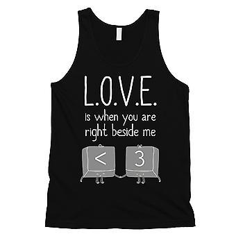 Liefde als je naast me mens zwart cute Valentines Day Tank Top