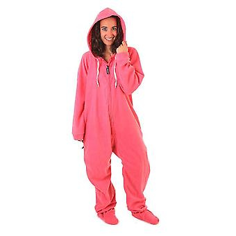Adult Unisex Onesie Plus Size Pajamas Footed Warm Fleece Hooded Soft Jumpsuit