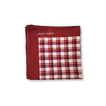 Jacob Cohen Pocket Square in red/white check with slogan