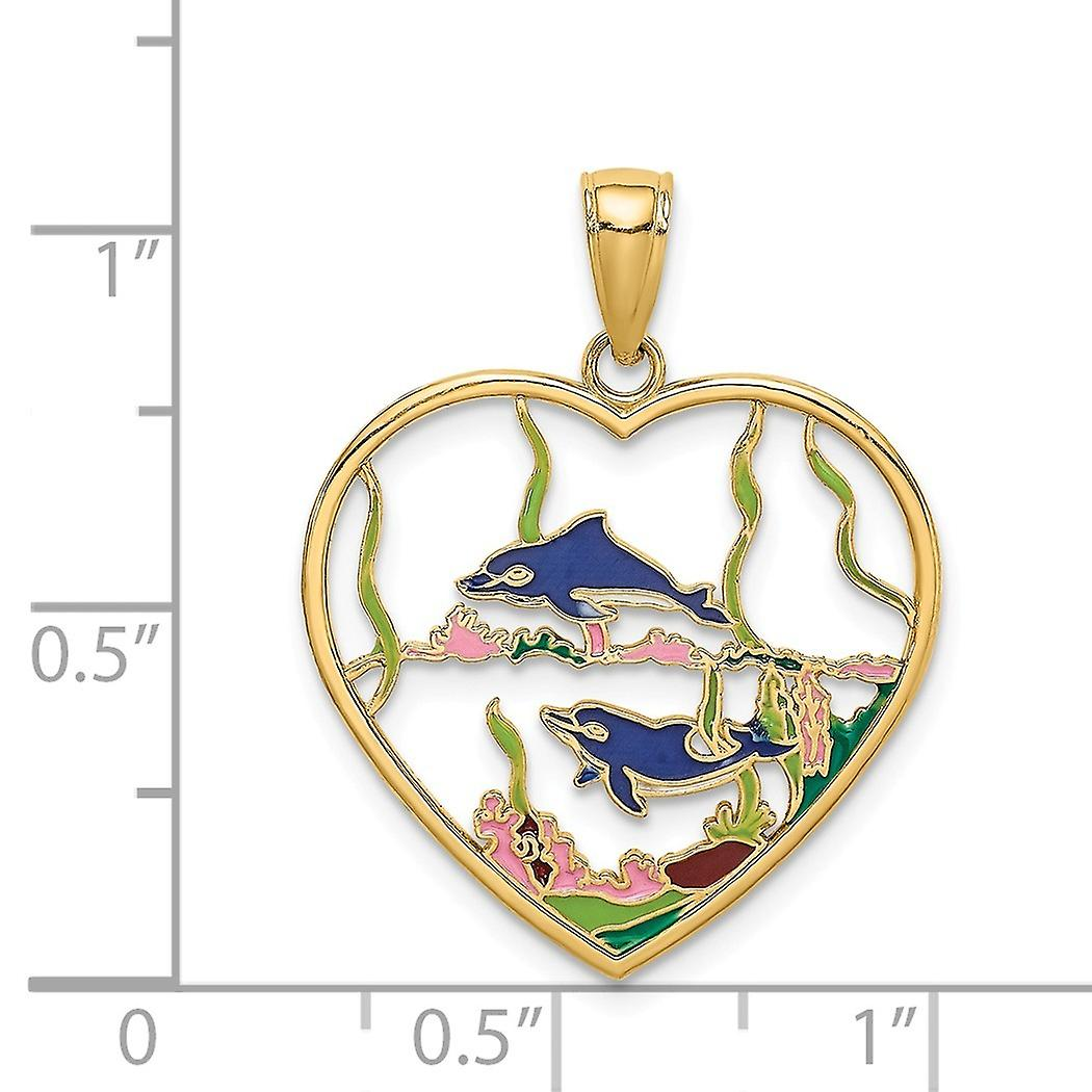 14k Gold Dolphins In Love Heart Pendant Necklace With Enamel Jewelry Gifts for Women - 2.2 Grams