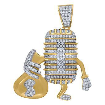 925 Sterling Sølv Gul Tone Herre CZ Cubic Zirconia Mic og penge taske Hip Hop Charm Pendant halskæde Mea smykker Gave