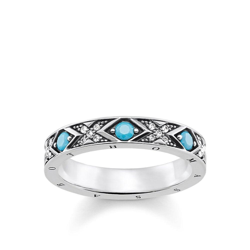 Thomas Sabo Silver With Turquoise Stone & Cubic Zirconia Asian Ornaments Ring Tr2162-347-17