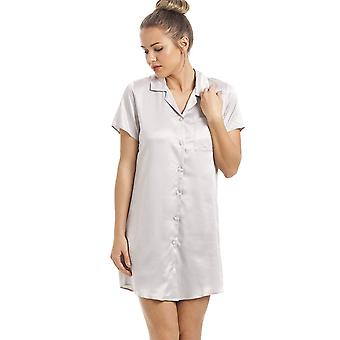 Camille Luxurious Knee Length Silver Satin Nightshirt