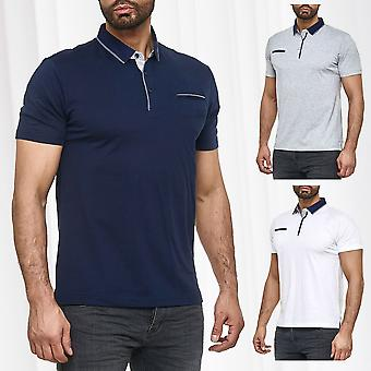 Men Basic Polo Shirt Unicoloured Short Sleeve Collar Summer Club Shirt Slim