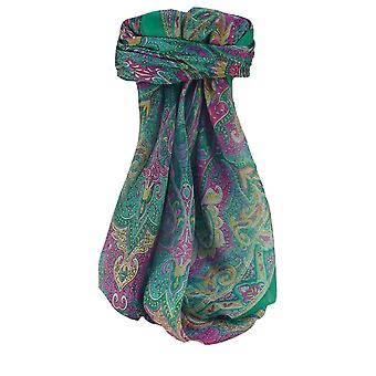 Mulberry Silk Traditional Square Scarf Shruti Emerald by Pashmina & Silk
